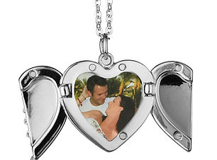 Personalised Angel Wings Necklace   Personalised Necklaces   Photo Heart Locket Necklace  