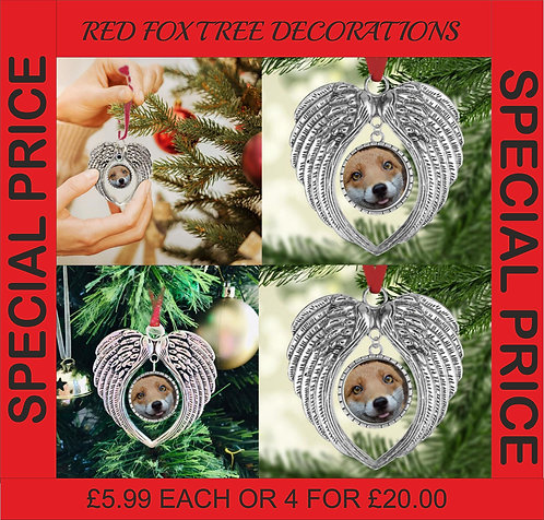 Red Fox Angel Wings Tree Decorations Great Gift idea for the fox fan, Christmas