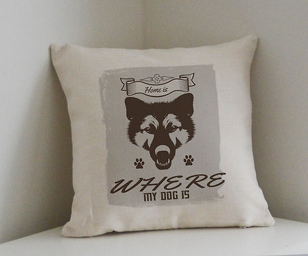 Cushion and Printed Cover 'Home Is Where My Dog Is'