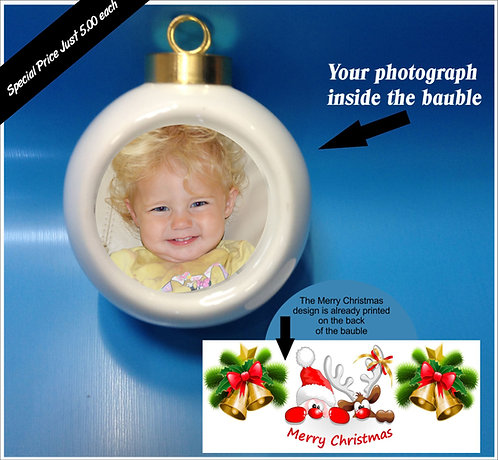 Ceramic Christmas Tree Bauble Personalised with your photo Special Sale Price