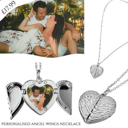 personalised angel wings necklace heart