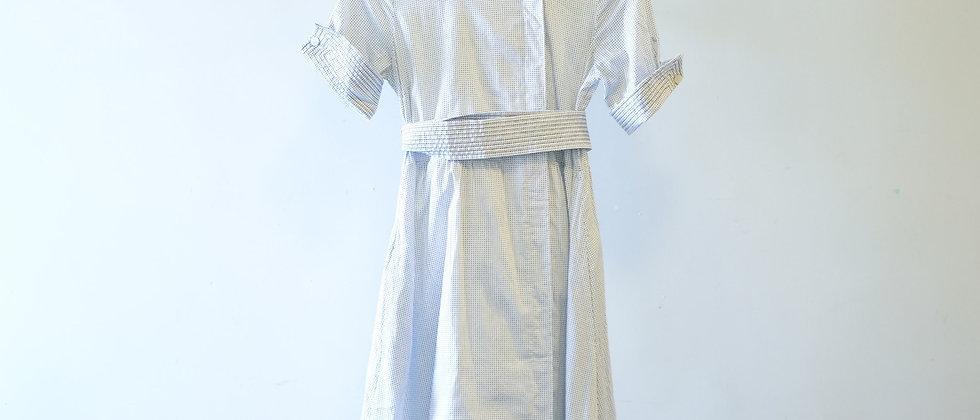 White Black Dot Shirt Dress