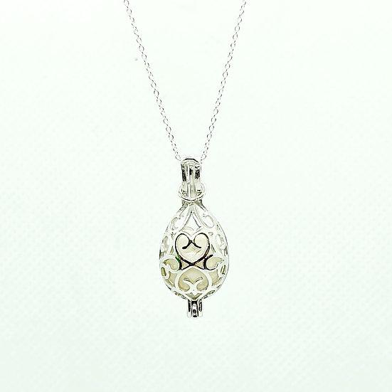 The Filigree Heart Bead Cage Inclusion Pendant