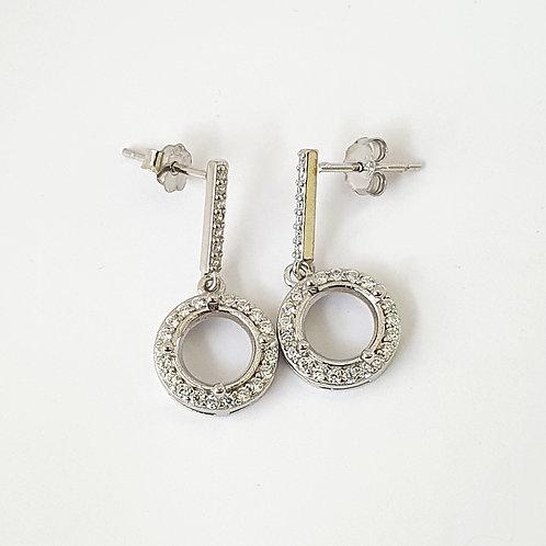 8mm round drop earrings