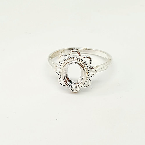 Silver Flora Inclusion Ring (Sizes L and Q)