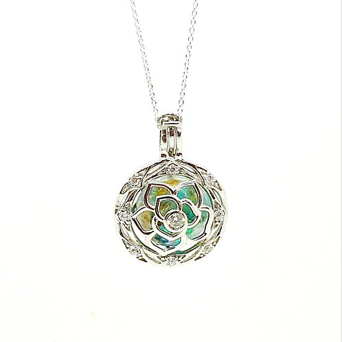 The Sparkle Flower Bead Cage Inclusion Pendant
