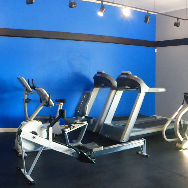 Stretching area and cardio equipment