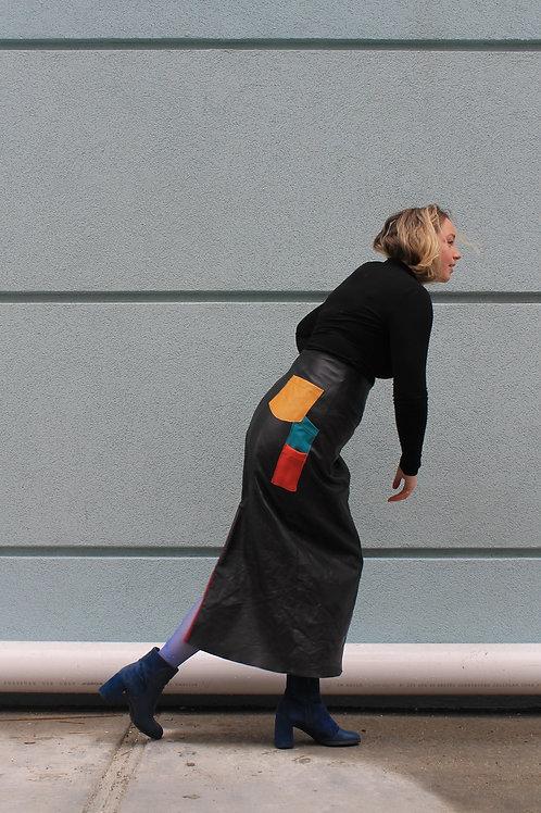 Leather Cargo Skirt
