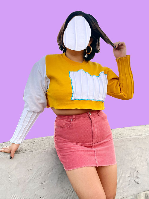 Cropped Piped Sweater