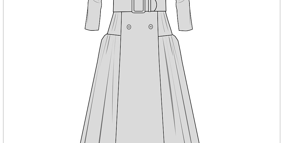 belted Bardot dress, adobe illustrator, fashion vector cads templates