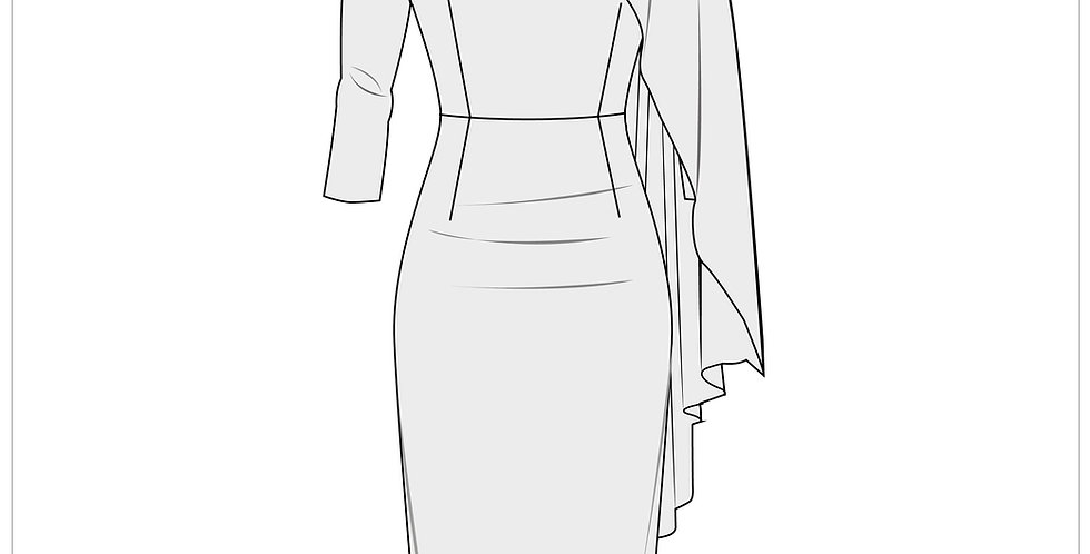 fitted cape dress, adobe illustrator, fashion vector cads templates