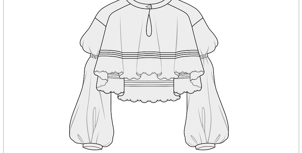 balloon crop top, adobe illustrator, fashion vector cads templates