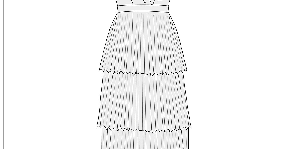 pleated dress, adobe illustrator cad fashion vector templates,