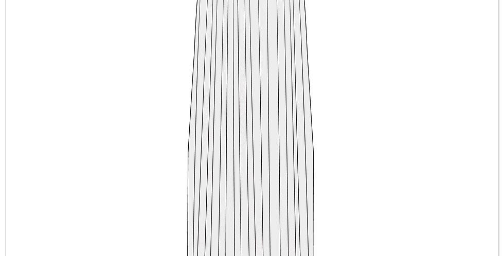 pleated column dress, adobe illustrator, fashion vector cads templates