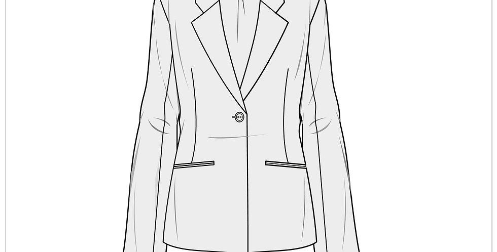 longline blazer, adobe illustrator, fashion vector cads templates