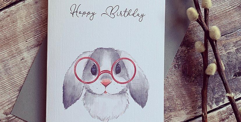 Grey Bunny Hoppy Birthday Card