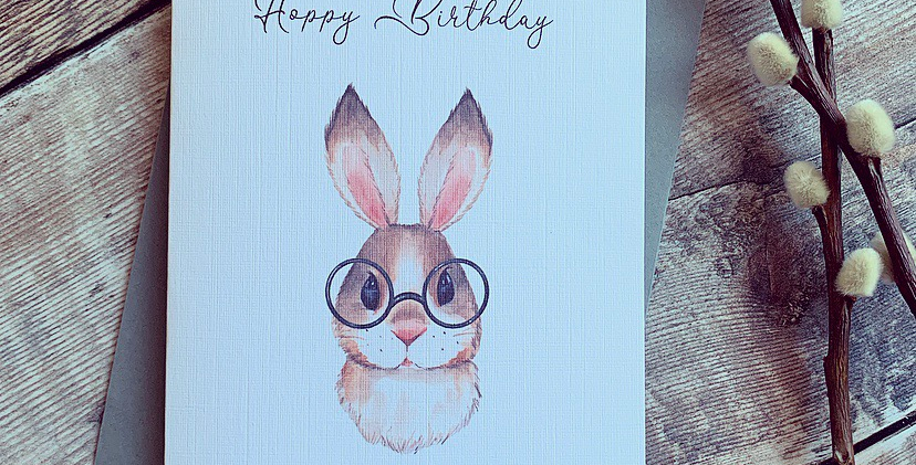 Brown Bunny Hoppy Birthday Card
