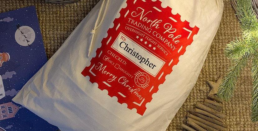 North Pole Personalised Christmas Sack