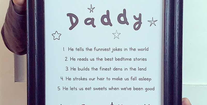 Personalised Things I Love About Daddy Print
