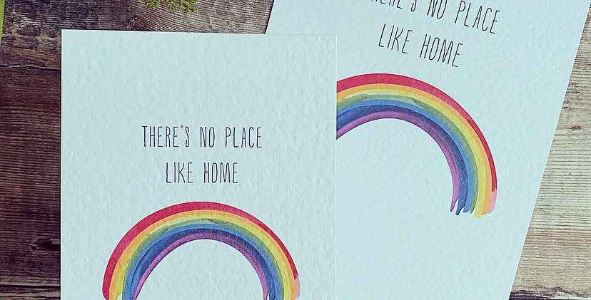 There's No Place Like Home Rainbow Print