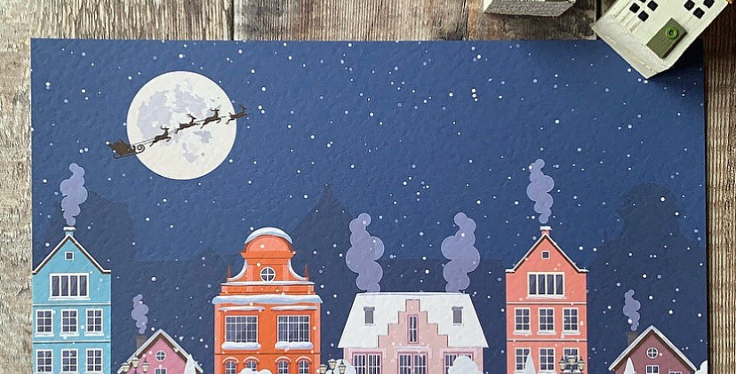 Personalised Christmas Skyline Print