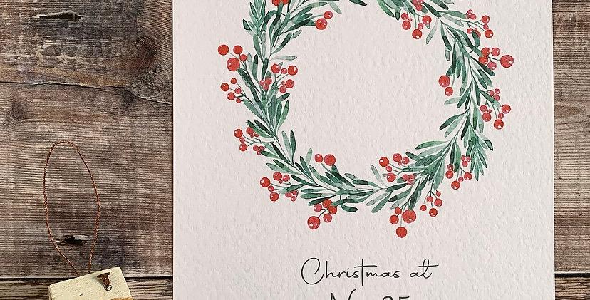 Personalised Christmas Wreath Print