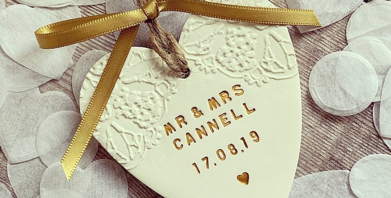 Personalised Clay Wedding Heart