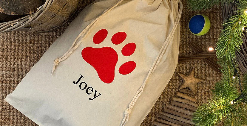 Personalised Red Paw Print Pet Sack