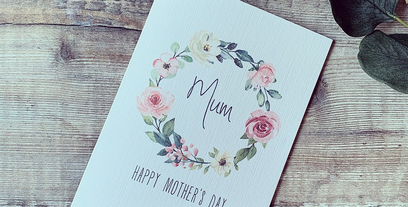 Personalised Floral Wreath Mother's Day Card