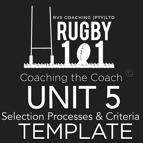 Coaching the Coach - UNIT 5 Selection Processes & Criteria TEMPLATE