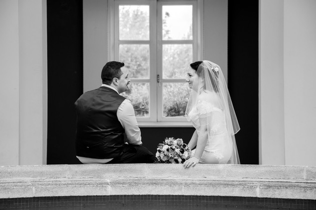 Andy & Claire - Sitting By The Fountain Black And White