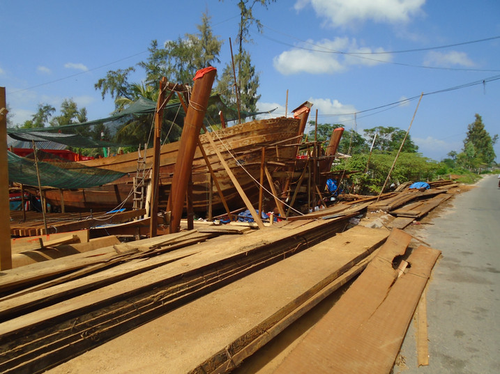 Old world craftsmanship for building fishing boats in Vietnam