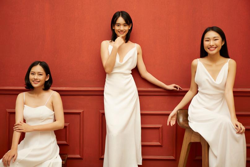 Vietnamese hostesses at hotel lobby