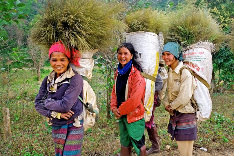 Three middle-aged women carrying hey to the market to sale