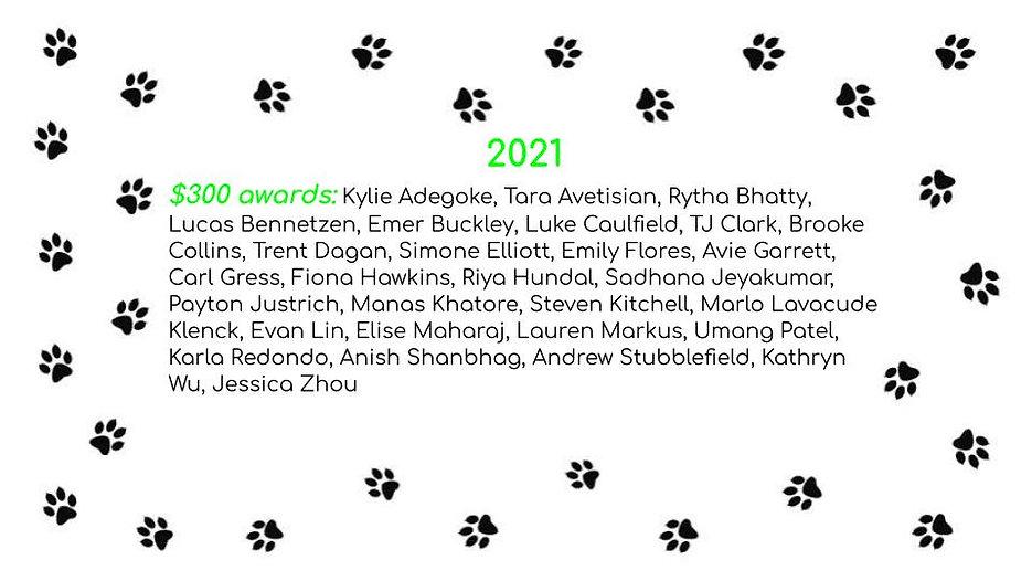2021 NPHSSF Scholarship recipients
