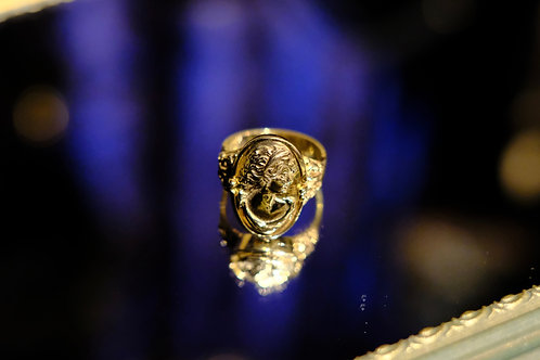 "Antique ""Lady Face"" 14K Yellow Gold Ring"