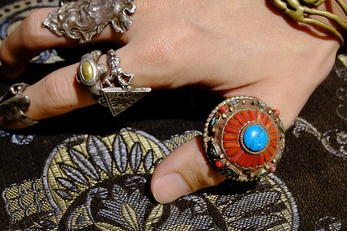 "Vintage ""Turquoise & Mountain Coral"" Ring (from Tibet)"