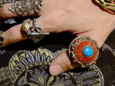 """Vintage """"Turquoise & Mountain Coral"""" Ring (from Tibet)"""