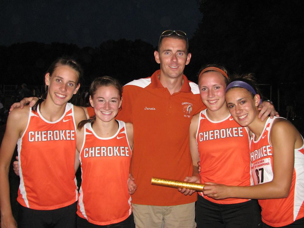 4x400m Relay at MOC's. Ally Masoero, Alexa Chiarelli, Erin Mason, and Emily Kulcyk