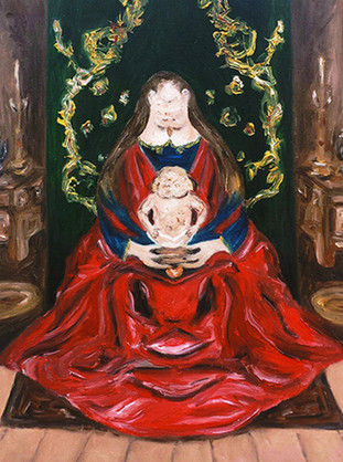 Madonna con bambino, 2014, oil on canvas, 24 x 18 cm