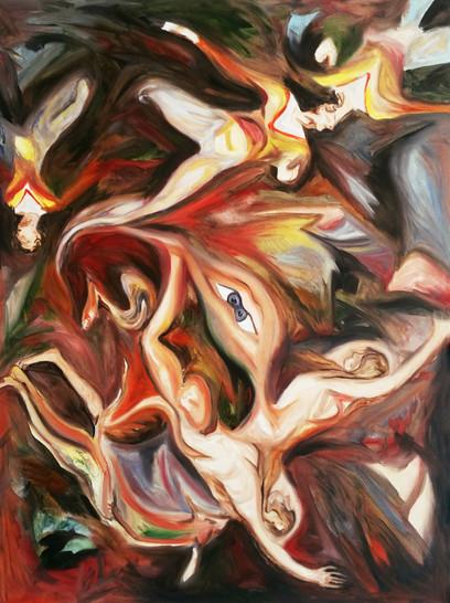 A causa dell'immagine, 2017 , oil on canvas, 80 x 60 cm