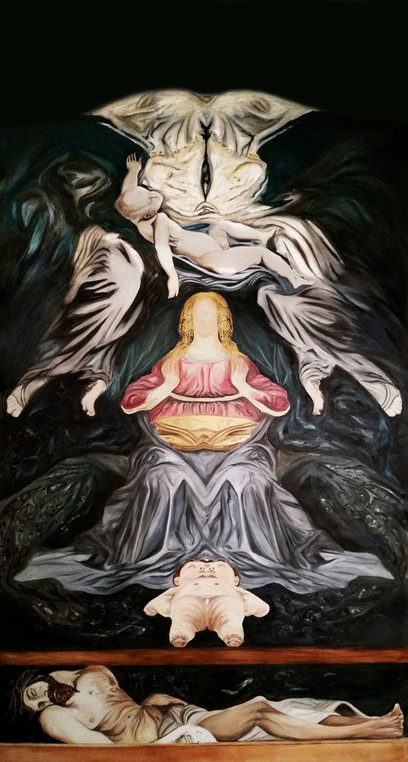 Maeternità, 2016, oil on canvas, 440 x 200 cm