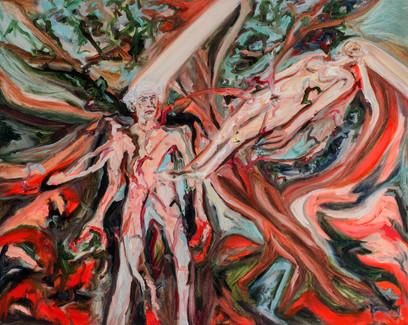 Max e le Reminiscenze di un futuro sommerso, 2017, oil on canvas, 150 x 100