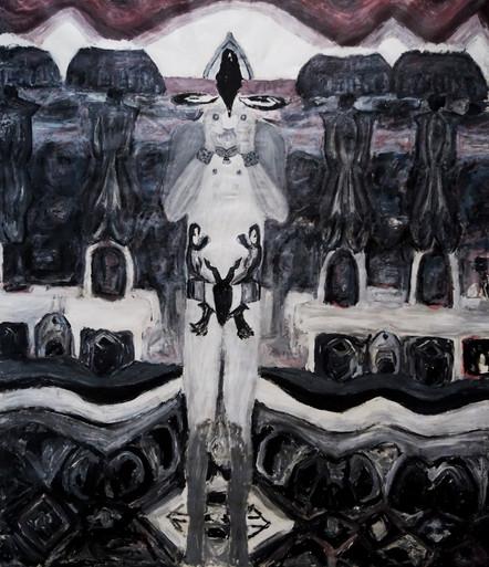 L' apocalisse dell'ora,2014,oil on canvas, 180 x 150 cm