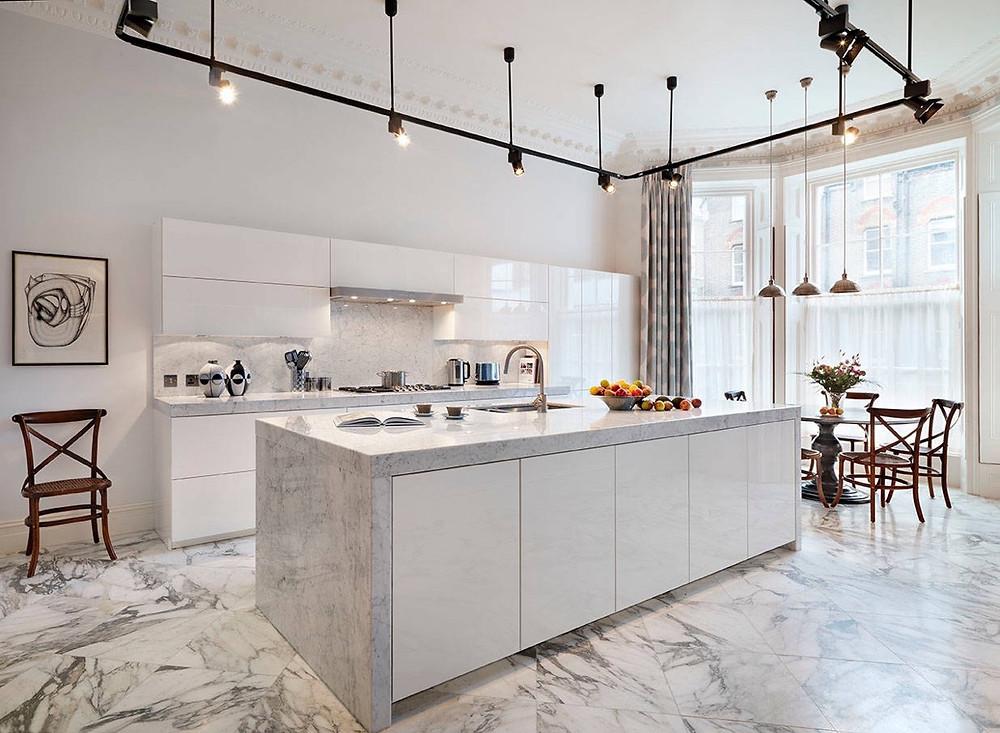 lantai marmer dapur minimalis
