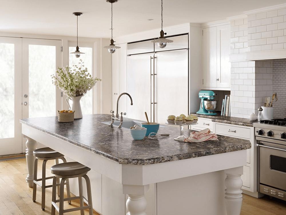 Marmer untuk kitchen island ala country house