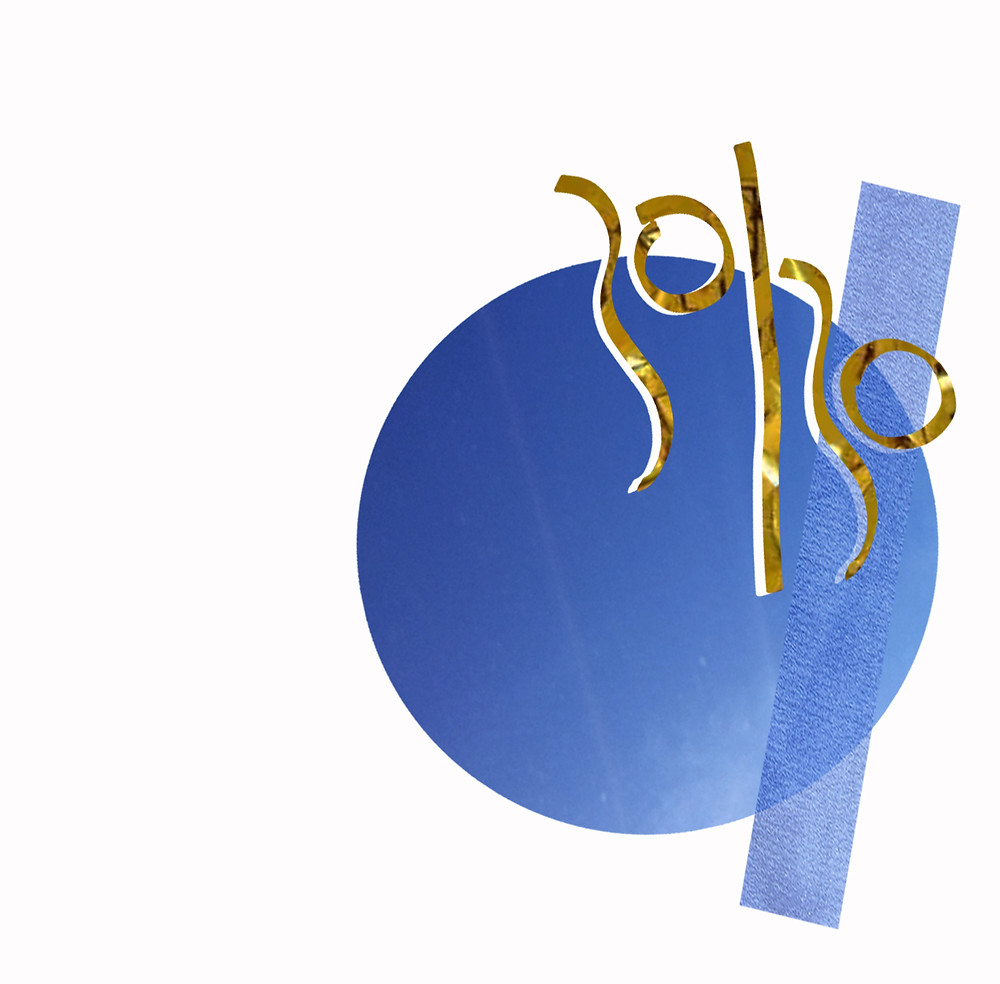 30 works 30 days logo in the text 30/30 in gold cut out with a white drop shadow, on top of a large blue circle and transparent blue rectangular stripe going across vertically over the text and circle.