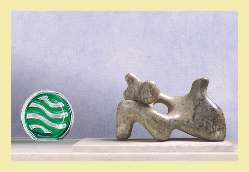 an image with a pale yellow frame, the image shows and lilac hued background wall with a domestic air freshener made from glass with green gel in a wave pattern on the left , next to it is a abstract figure sculpture made of marble similar style to that of barbara Hepworth or Henry moore.