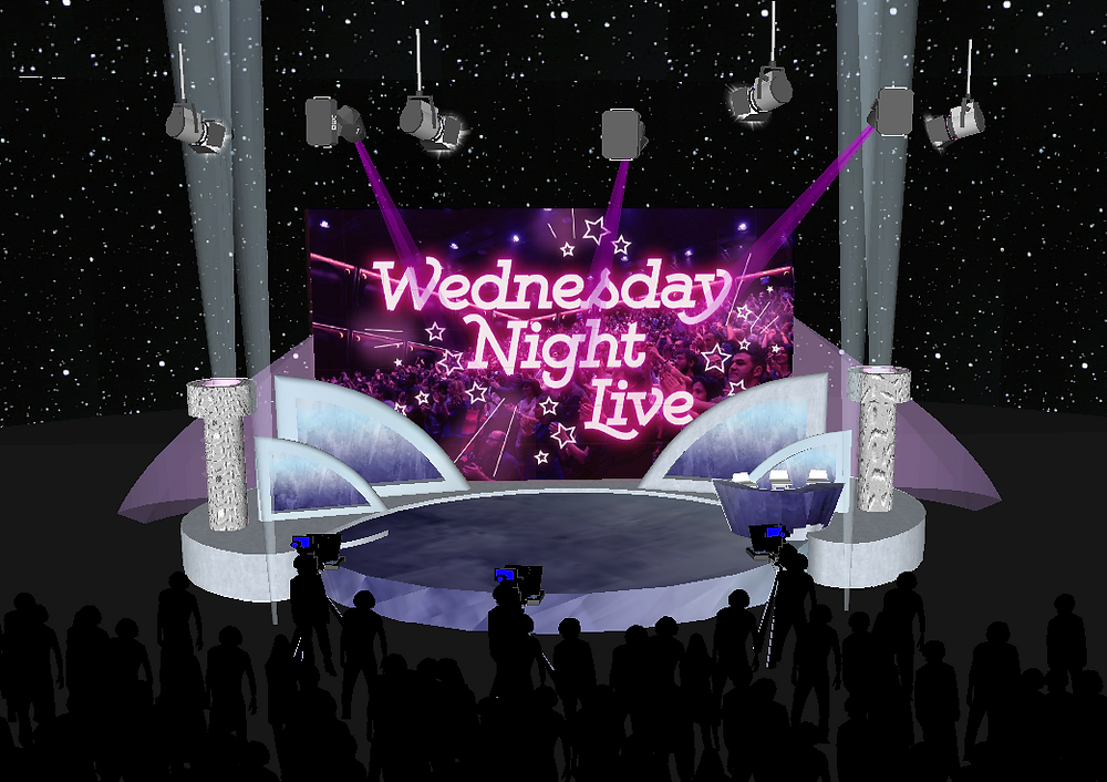 Graphic rendering made in Sketch Up of a purple and white marbled stage, a large screen at the back of the stage say Wednesday Night Live in big pink text. The stage is lit from hanging large tungsten lights suspended in the air. A silhouetted audience stand behind camera operators. The background is black with stars.