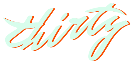 Thirty logo that reads thirty in lowercase in italic cursive writing, the text is pale mint colour with a orange drop shadow.